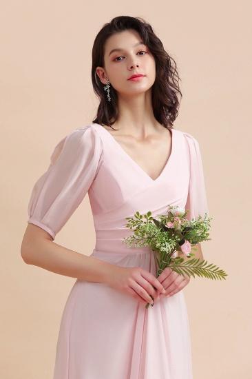 BMbridal A-Line V-Neck Chiffon Ruffles Bridesmaid Dress with Short Sleeves_9