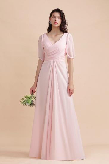 BMbridal A-Line V-Neck Chiffon Ruffles Bridesmaid Dress with Short Sleeves_6