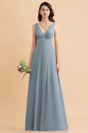BMbridal A-Line Dusty Blue Chiffon Ruffles Bridesmaid Dress with Slit_53