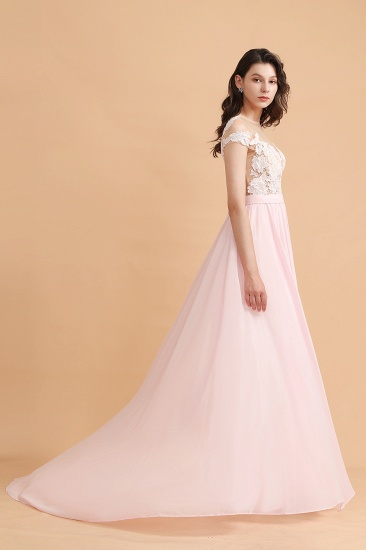 BMbridal A-Line Jewel Chiffon Lace Ruffles Bridesmaid Dress with Slit_7