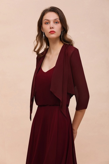 BMbridal Burgundy Chiffon Special Occasion Wraps with Half Sleeves_6