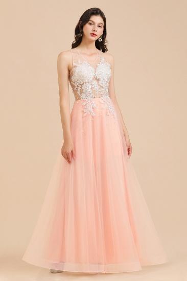 BMbridal Round Neck Lace Appliques Long Evening Prom Dress_7