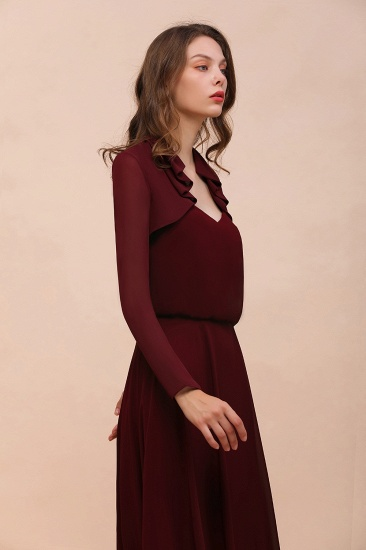 BMbridal Burgundy Chiffon Wraps with Long Sleeves Online_6