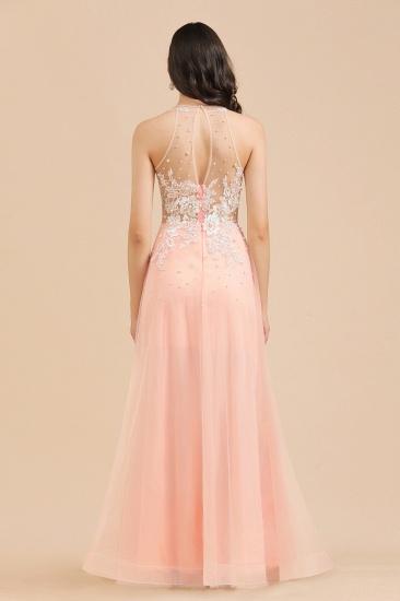 BMbridal Round Neck Lace Appliques Long Evening Prom Dress_8