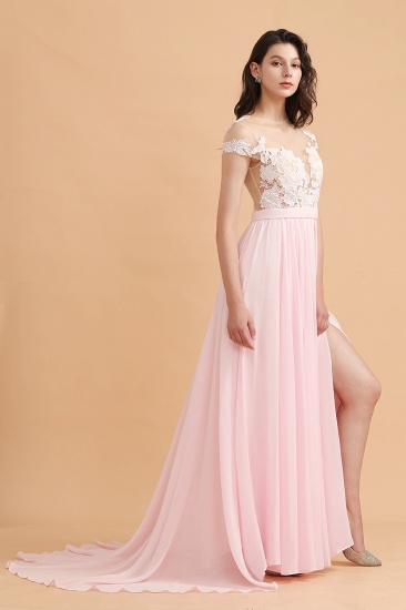BMbridal A-Line Jewel Chiffon Lace Ruffles Bridesmaid Dress with Slit_6
