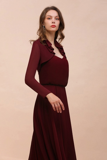 BMbridal Burgundy Chiffon Wraps with Long Sleeves Online_5