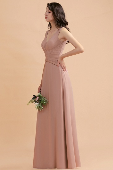 BMbridal V-Neck Dusty Rose Chiffon Bridesmaid Dress with Ruffles_4