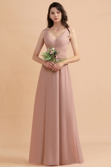 BMbridal V-Neck Dusty Rose Chiffon Bridesmaid Dress with Ruffles_7