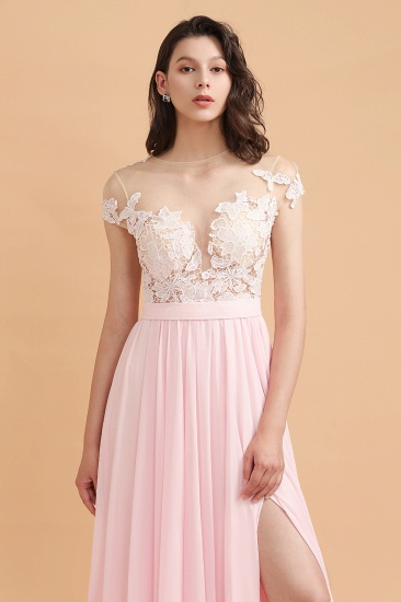 BMbridal A-Line Jewel Chiffon Lace Ruffles Bridesmaid Dress with Slit_9