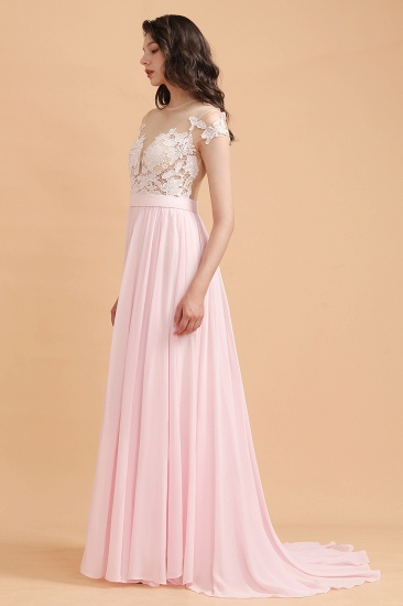 BMbridal A-Line Jewel Chiffon Lace Ruffles Bridesmaid Dress with Slit_5