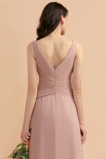 BMbridal V-Neck Dusty Rose Chiffon Bridesmaid Dress with Ruffles_10