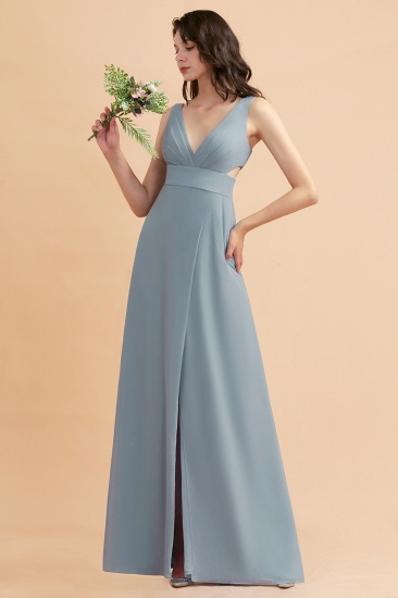 BMbridal A-Line Dusty Blue Chiffon Ruffles Bridesmaid Dress with Slit_40