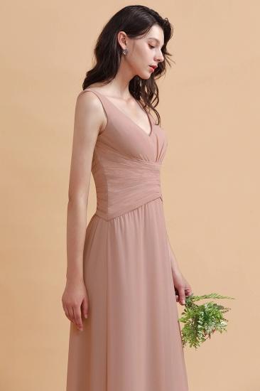 BMbridal V-Neck Dusty Rose Chiffon Bridesmaid Dress with Ruffles_9