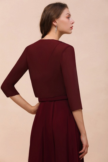 BMbridal Burgundy Chiffon Special Occasion Wraps with Half Sleeves_2