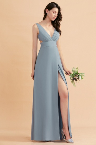 BMbridal A-Line Dusty Blue Chiffon Ruffles Bridesmaid Dress with Slit_54
