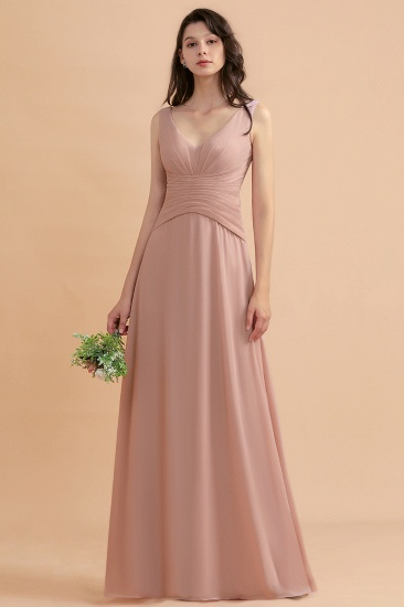 BMbridal V-Neck Dusty Rose Chiffon Bridesmaid Dress with Ruffles_2