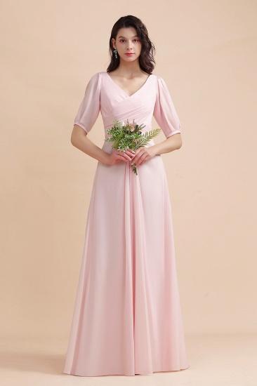 BMbridal A-Line V-Neck Chiffon Ruffles Bridesmaid Dress with Short Sleeves_7