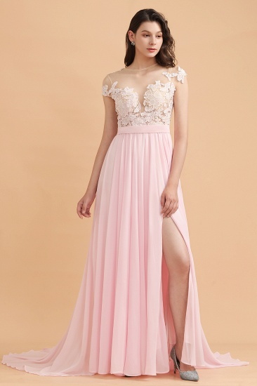 BMbridal A-Line Jewel Chiffon Lace Ruffles Bridesmaid Dress with Slit