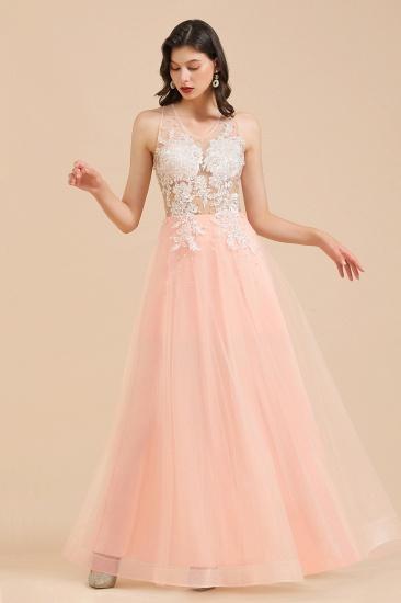 BMbridal Round Neck Lace Appliques Long Evening Prom Dress_6