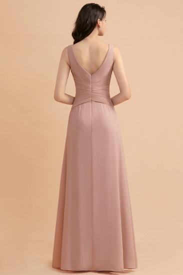 BMbridal V-Neck Dusty Rose Chiffon Bridesmaid Dress with Ruffles_3
