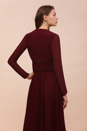 BMbridal Burgundy Chiffon Wraps with Long Sleeves Online_3