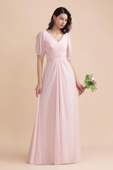 BMbridal A-Line V-Neck Chiffon Ruffles Bridesmaid Dress with Short Sleeves_4