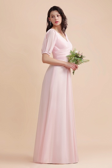BMbridal A-Line V-Neck Chiffon Ruffles Bridesmaid Dress with Short Sleeves_8