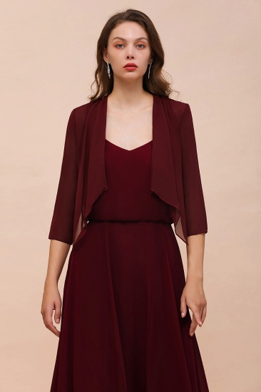 BMbridal Burgundy Chiffon Special Occasion Wraps with Half Sleeves_3