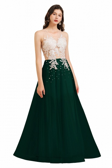 BMbridal Round Neck Lace Appliques Long Evening Prom Dress_4