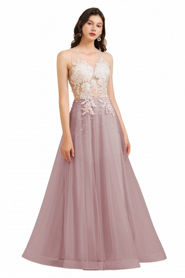 BMbridal Round Neck Lace Appliques Long Evening Prom Dress_2