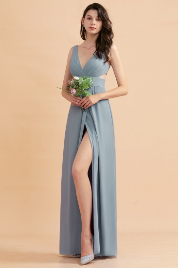 BMbridal A-Line Dusty Blue Chiffon Ruffles Bridesmaid Dress with Slit_56