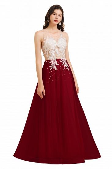 BMbridal Round Neck Lace Appliques Long Evening Prom Dress_3