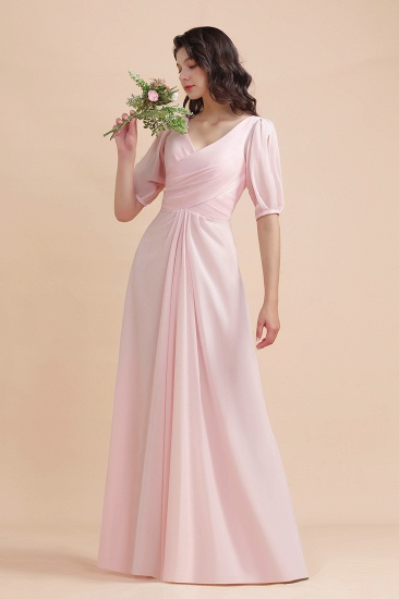 BMbridal A-Line V-Neck Chiffon Ruffles Bridesmaid Dress with Short Sleeves_5