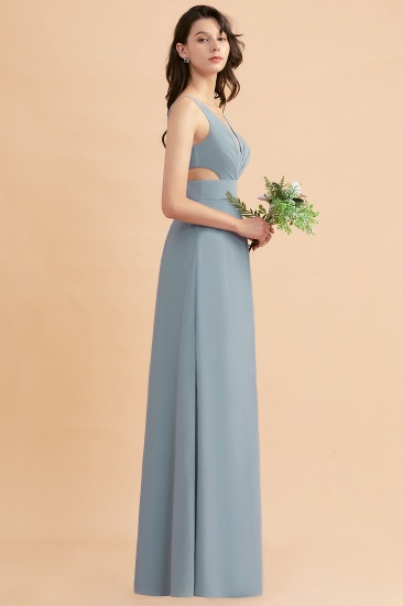 BMbridal A-Line Dusty Blue Chiffon Ruffles Bridesmaid Dress with Slit_57