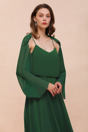 BMbridal Dark Green Chiffon Special Occasion Wraps with Long Sleeves