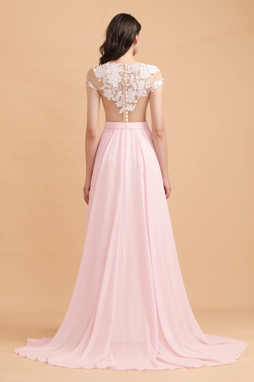 BMbridal A-Line Jewel Chiffon Lace Ruffles Bridesmaid Dress with Slit_3