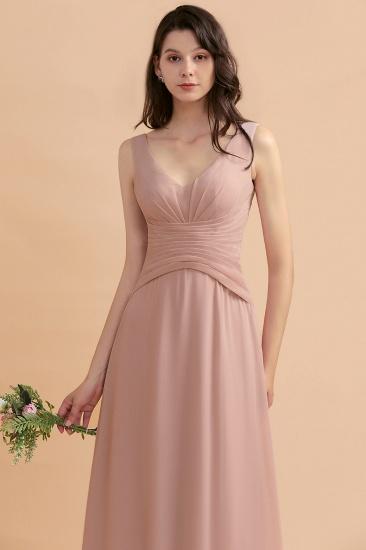 BMbridal V-Neck Dusty Rose Chiffon Bridesmaid Dress with Ruffles_8