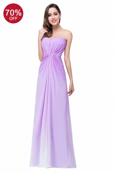 BMbridal Gorgeous A-line Strapless Lilac Chiffon Bridesmaid Dress Affordable In Stock_2