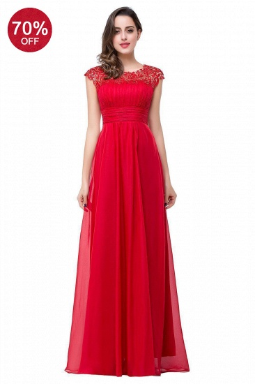 BMbridal Affordable A-Line Jewel Red Chiffon Lace Bridesmaid Dress In Stock_4