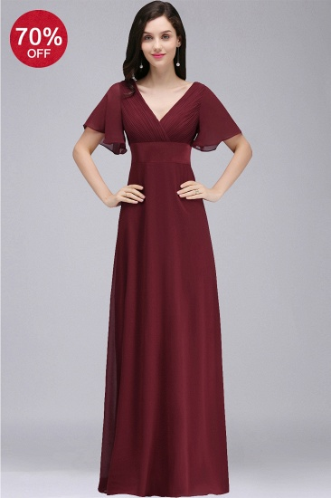 BMbridal Affordable Chiffon Burgundy Long Bridesmaid Dresses with Soft Pleats In Stock_7
