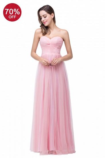 BMbridal Affordbale A-line Tulle Sweetheart Ruffle Pink Bridesmaid Dress Online In Stock_2