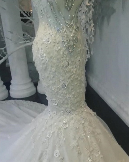 BMbridal Unique Jewel Sleeveless White Wedding Dresses Mermaid Lace Bridal Gowns With Appliques Online_4