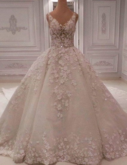 BMbridal Chic Straps V-neck A-line Wedding Dresses With Appliques Ivory Sleeveless Bridal Gowns On Sale_1