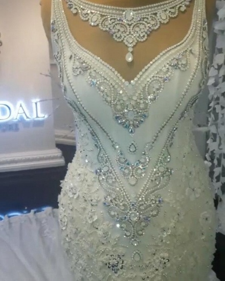 BMbridal Unique Jewel Sleeveless White Wedding Dresses Mermaid Lace Bridal Gowns With Appliques Online_6