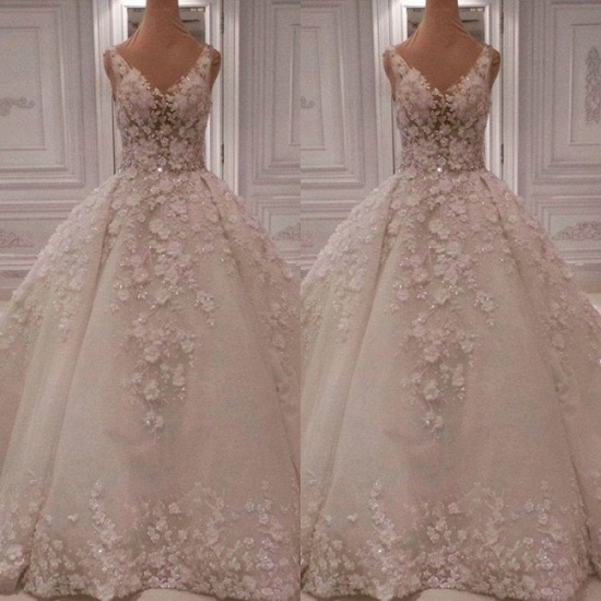 BMbridal Chic Straps V-neck A-line Wedding Dresses With Appliques Ivory Sleeveless Bridal Gowns On Sale_4
