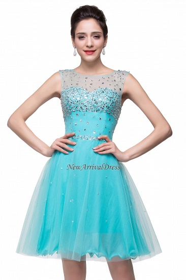 BMbridal Open Back Sleeveless Chiffon Homecoming Dress Crystal Beads Tulle Short Prom Dress_6