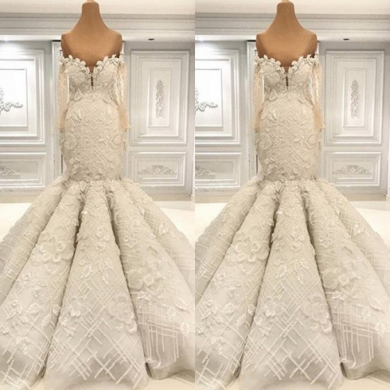 BMbridal Glamorous Halfsleeves White Mermaid Weddung Dresses Strapless Ruffles Bridal Gowns With Appliques Online_3