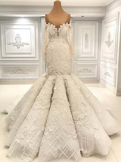 BMbridal Glamorous Halfsleeves White Mermaid Weddung Dresses Strapless Ruffles Bridal Gowns With Appliques Online_1
