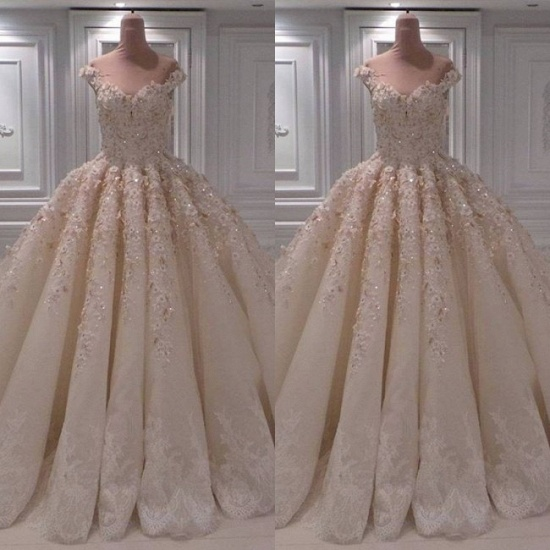 Elegant Chamgne Off-the-shoulder A-line Wedding Dresses Sequins Lace Bridal Gowns With Appliques Online_3