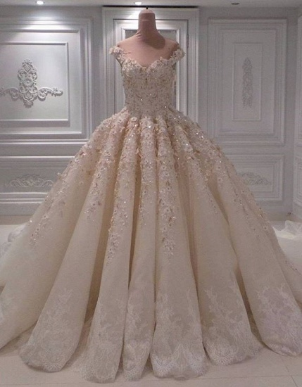 Elegant Chamgne Off-the-shoulder A-line Wedding Dresses Sequins Lace Bridal Gowns With Appliques Online_1
